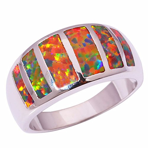 [PSRINGS Orange Fire Opal Silver Plated Ring Party Wedding Jewelry Ring 7.0] (Ninja Turtle Nose Costume)