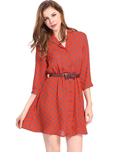 Allegra K Women's Polka Dots 3/4 Sleeves Above Knee Belted Shirt Dress S Orange