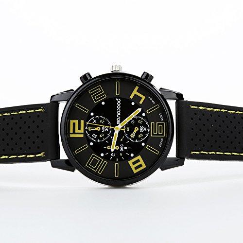FinancePlan Men's Fashion Quartz Analog Watches, Silicone Rubber Band Stainless Steel Wrist Watch on Sale Clearance by FinancePlan (Image #1)