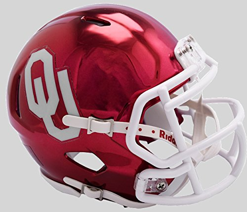 Helmet Oklahoma Sooners Ncaa - Riddell NCAA Oklahoma Sooners Unisex Oklahoma Sooners Helmet Replica Mini Speed Style Chrome Alternatehelmet Replica Mini Speed Style Chrome Alternate, Team Colors, One Size