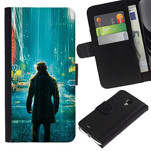 Funny Phone Case // Leather Wallet Protective Case with Slots for Money & Cards fit Samsung Galaxy S4 Mini i9190 /Lonely Watchman Comic/