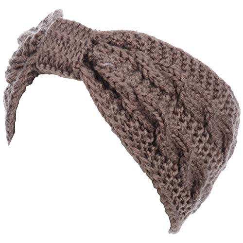 Womens Winter Boho Chic Classic Cable Bow Knotted Crochet Knitted Turban Headband Headwrap