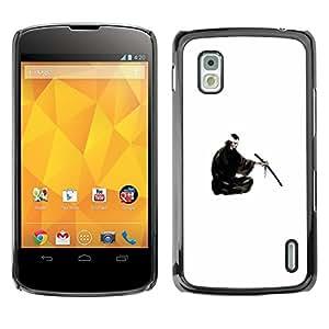 EJOY---Cubierta de la caja de protección la piel dura para el / LG Nexus 4 E960 / --Samurai japonés