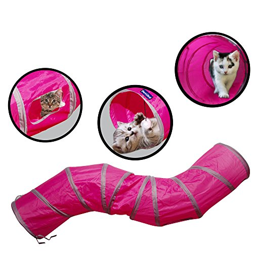 (PetLike S Way Cat Tunnel Crinkle Collapsible Pet Tube Hideaway Play Toy with Ball)