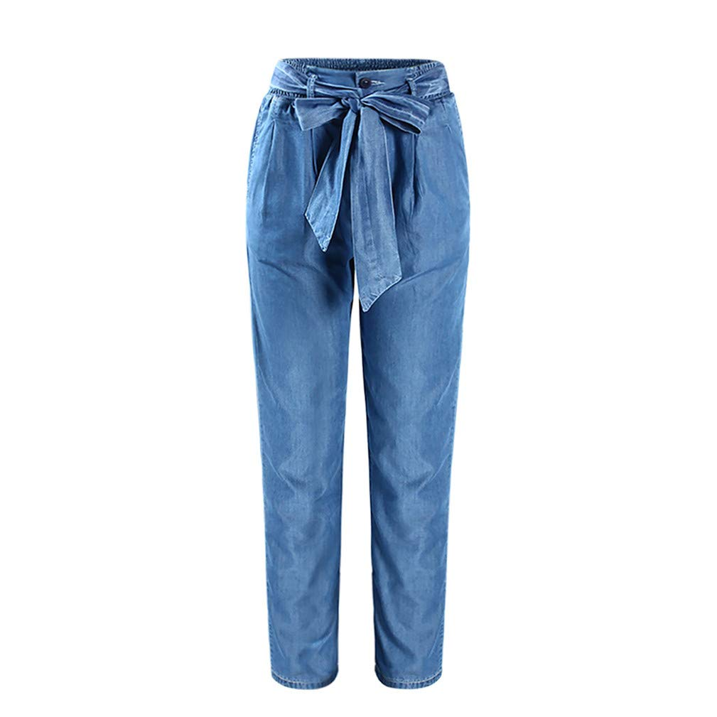 Womens Plus Big Size High Waist Elastic Waist Casual Loose Fit Jeans