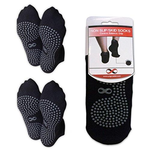 Non Skid Socks with Grips, Slip Free, Slipper Socks, for Hospital Rehab, Traveling, Yoga, Pilates, Barre, Martial Arts, Trampoline, Home Use, for Women, Men, Senior, Black (Grey Dots) - 2 Pairs, M/L