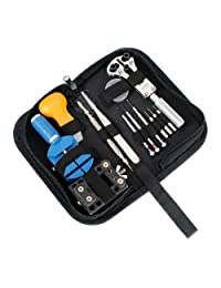 OFKP® Portable 13pcs Watch Repair Tool Kit & Zip Case Battery Opener Link Remover Screwdrivers Back Remover