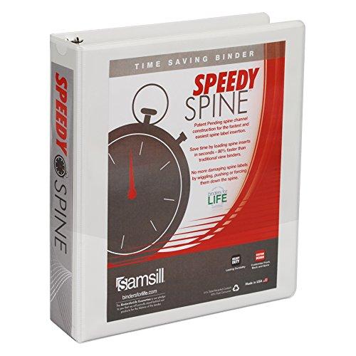 - Samsill 1-1/2-Inch Speedy Spine Round Ring View Binder, White (18157C)