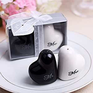 Wedding Favor Love Heart Mr. and Mrs. Salt Pepper Shakers