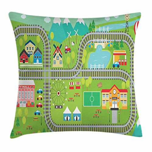 Kid's Activity Throw Pillow Cushion Cover by Ambesonne, Train Tracks with Colorful Town School City Mall and Amusement Park Fair, Decorative Square Accent Pillow Case, 26 X 26 Inches, - Shops Mall Square Park