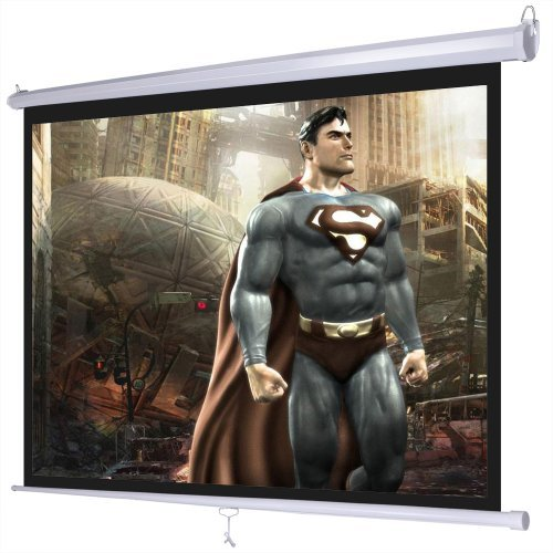 Professional Portable Manual Pull Down Projector Screen Wall Ceiling Mounted 120'' 4:3