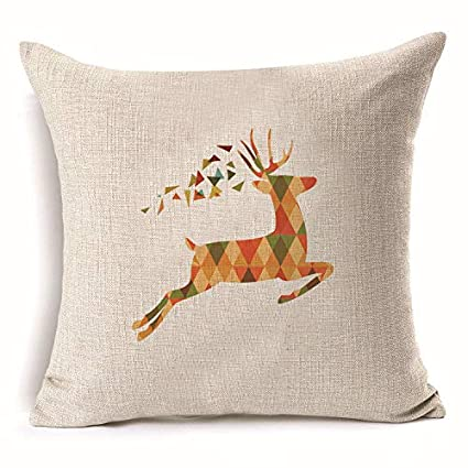 Amazon.com: 4545cm Deer Christmas Cotton Linen Throw Pillow ...
