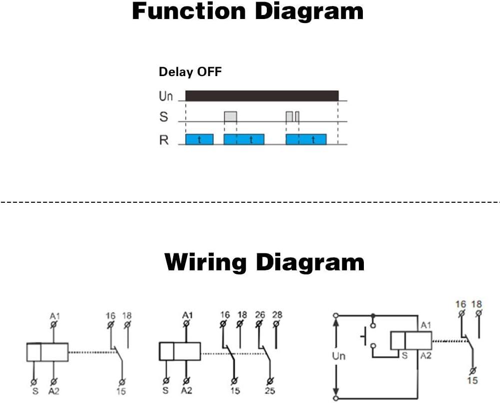 D/élai darr/êt AC//DC 12V ~ 240V Mini relais de temporisation de mise hors tension GRT8-B1 Type de rail DIN