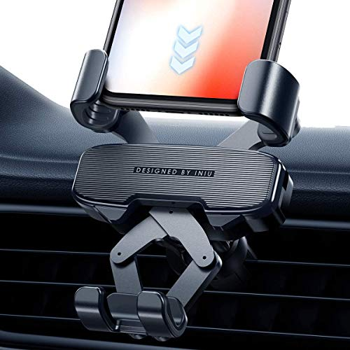 INIU Car Phone Holder, Gravity Auto Lock & Release Air Vent Phone Holder for Car, 360° One Handed Car Phone Mount Compatible with iPhone 11 Pro XS X 8 7 Samsung Galaxy S10 S9 S8 Note 10 Huawei P30 etc