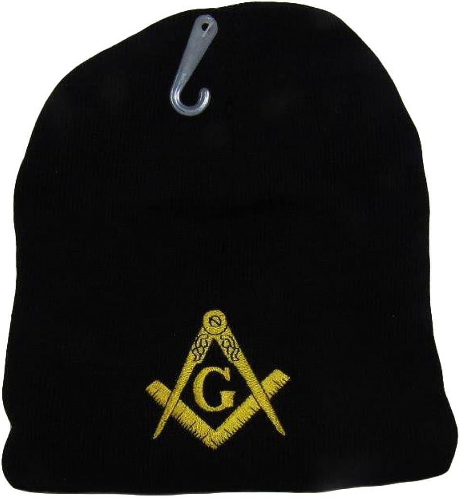 AES 8 Mason Masonic Lodge Mason Letters Black Embroidered Beanie Skull Cap Hat