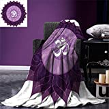 smallbeefly Chakra Custom printed Throw Blanket Circular Lace Like Point Form with Arabic Lettering the in Node Centre Meditation Image Velvet Plush Throw Blanket Purple