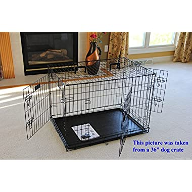 EliteField 3-Door Folding Dog Crate with Rubber Feet, 42 L x 28 W x 30 H