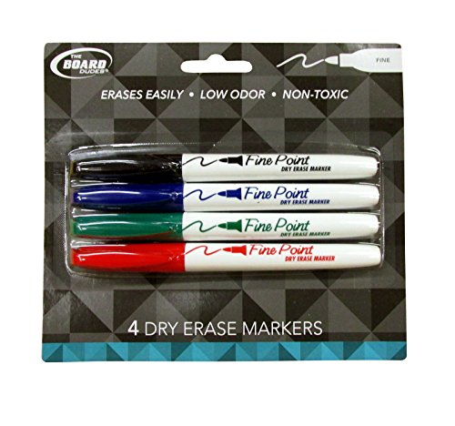The Board Dudes Dry Erase Marker 4 Color Set Fine Point Non-Toxic