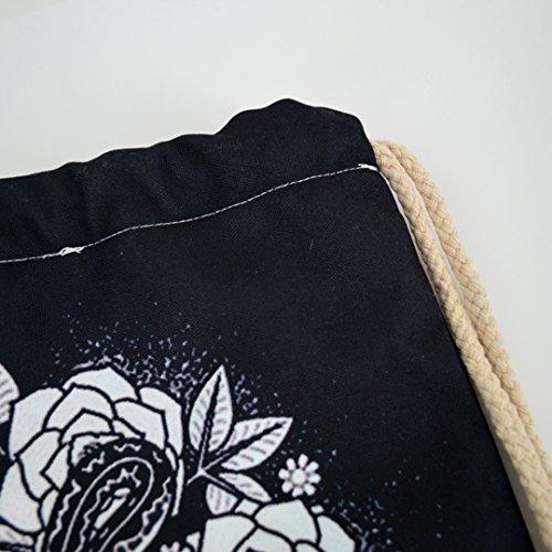 Millya lienzo cordón bolsa de hombro calavera Floral impresión deportes al aire libre gimnasio bolsa mochila mochila para hombres y mujeres, Main Picture 2 Main Picture 5