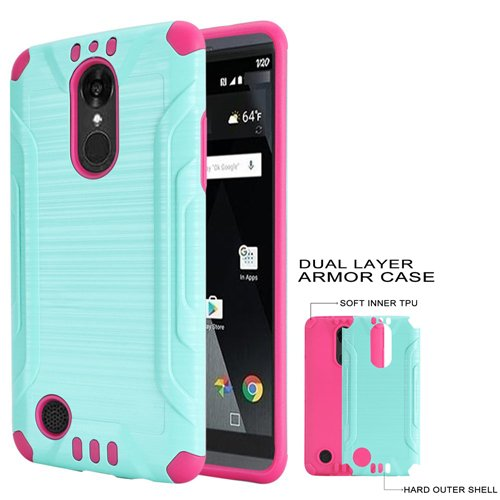 new product 005c4 a4bfb Phone Case for Tracfone LG Rebel-3 L158VL, L157BL (Straight Talk) Brush  Dual-Layered Cover (Combat Brush Teal-Pink TPU)