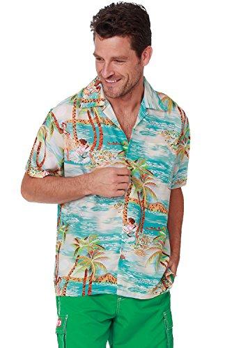 Men's Hawaiian Shirt Button Down Casual Aloha Short Sleeve Beach Shirts (Aqua Island, Medium)