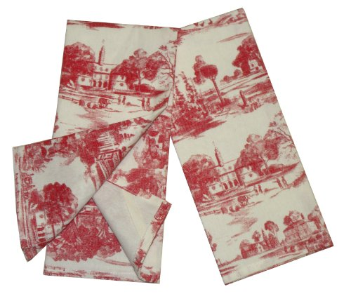 Toile French Country Dish Towel, Set of 2 Red (Accessories Bath Toile)