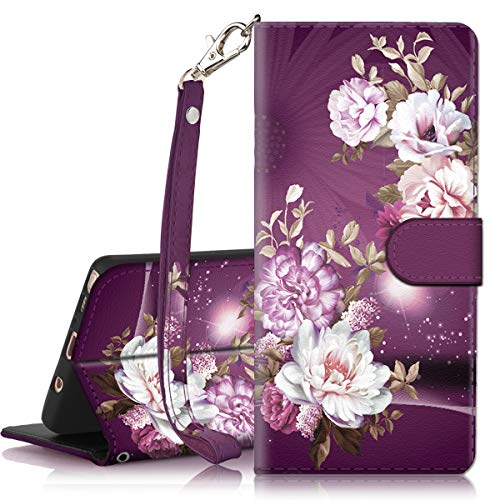 Galaxy Note 9 Case, Hocase PU Leather Full Body Protective Case with Credit Card Holders, Wrist Strap, Magnetic Closure for Samsung Galaxy Note 9 (2018) SM-N960 - Royal Purple/White Flowers