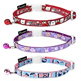 Pawaboo Cat Collar, [3 PACK] Premium 8 - 12.5 Inches Adjustable Cat Breakaway Collar with Quick Release Safety Buckle and Bell, Mixed Color