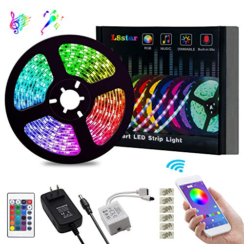 LED Strip Lights, L8star Color Changing Rope Lights 16.4ft SMD 5050 RGB Light Strips with Bluetooth Controller Sync to Music Apply for TV, Bedroom, Party and Home Decoration (16.4ft) -