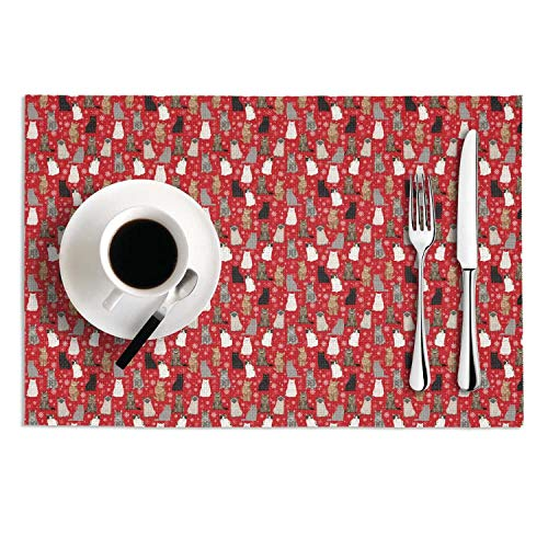Quinnteens Washable Table Mats Snow Cat Snowflake Holiday Feline Kitten Kitty Pet Non-Slip Insulation Placemat (2pcs placemats,12x18 inch)