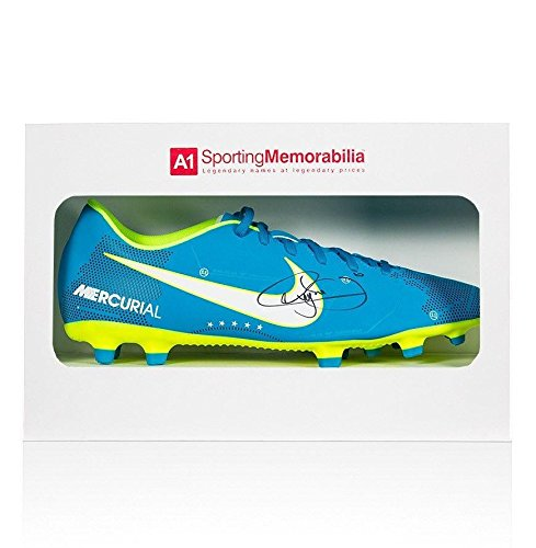 Neymar Jr Signed Football Boot Blue Nike Mercurial NJR Gift Box Autographed Soccer Cleats