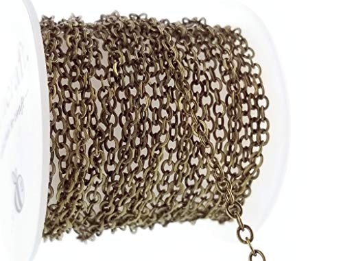 Antique Bronze Solid Brass Flat Cable Chain Spool- Hypoallergenic Nickel Free- (2.7 x 3.2) 3mm