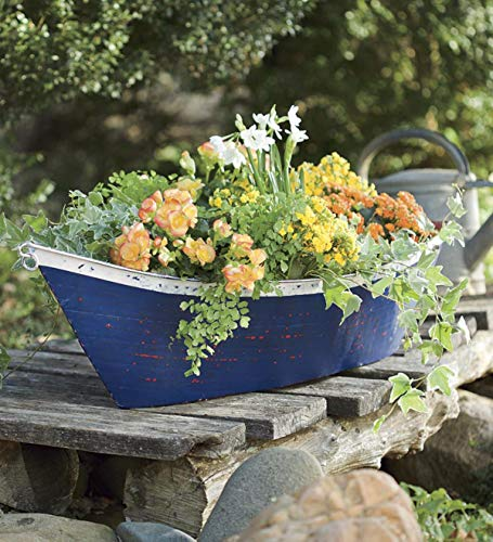 Distressed Planters - Plow & Hearth Handmade Recycled Metal Outdoor Boat Planter Container 35 L x 15½ W x 11 H Distressed Blue