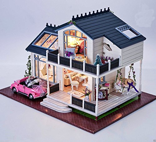 DIY Handcraft Miniature Project Kit Wooden Puzzle Dollhouse My Provence Lavender Villa Mini Furniture Decoration Christmas Gift ()