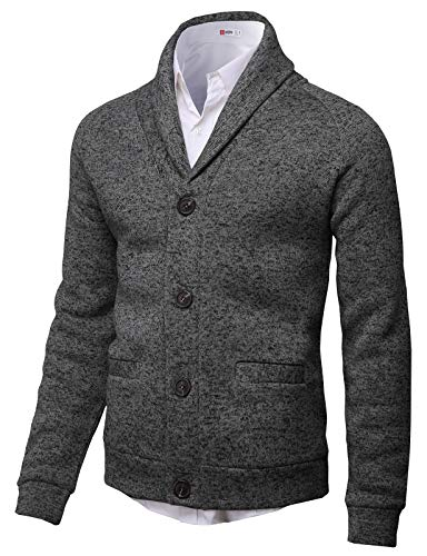 (H2H Mens Knitted Fashion Long Sleeve Shawl Collar Button Front Cardigan Charcoal US M/Asia L (CMOCAL031))