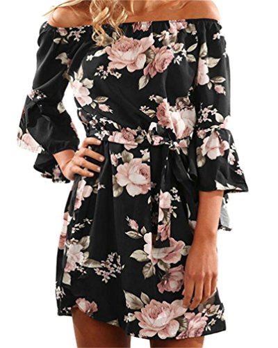 Flared Party Dress Mini Black Beach Domple Belted Printed Womens Sleeve Strapless 0zqBtwP