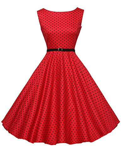 A-Line 50s Vintage Pinup Swing Dress Polka Dots Size XS F-2]()