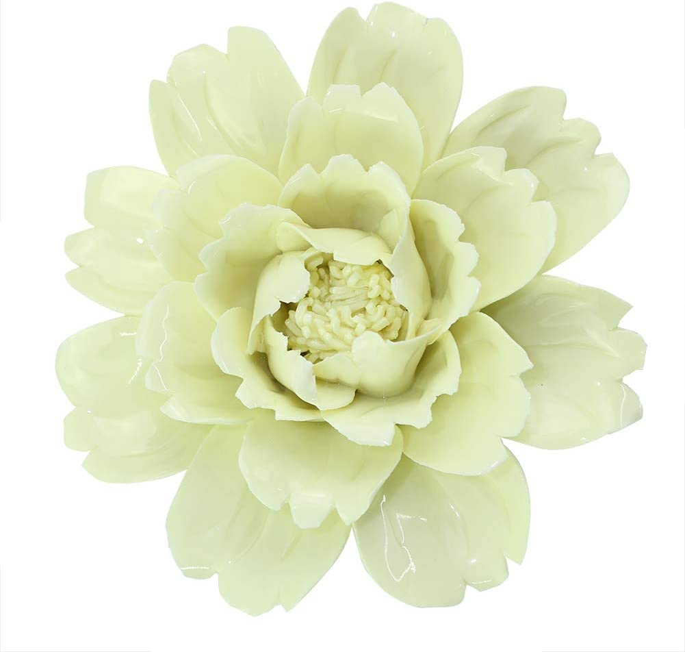 Dorlotou Ceramic Peony Flower Wall Decor Hanging Livingroom Garden Wall Sculptures,Yellow