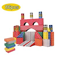 HAPPYMATY Cardboard Building Blocks Extra Thick 86 pcs Building Blocks Jumbo Bricks to Construction Wall and Deluxe Castle for Toddlers Boys Girls