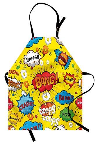 Lunarable Superhero Apron, Humor Speech Bubbles Funky Vivid Bang Boom Bam Pow Fiction Symbols Design, Unisex Kitchen Bib Apron with Adjustable Neck for Cooking Baking Gardening, Yellow Red]()