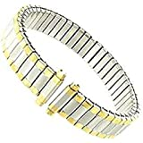 Women's Stainless Steel Stretch Watch Band, Flex Radial Expansion Replacement Strap, 10-13 mm - Two Tone Gold & Silver