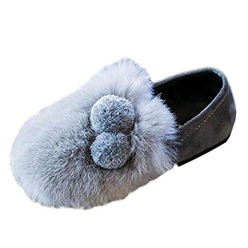 Haodasi Frühling Kinder Mädchen Flaumig Plüsch Prinzessin Shoes Warm Soft Single Schuhe Gray