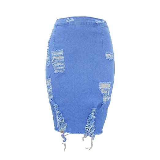 88b7ad020 Amazon.com: Women's Casual Denim Pencil Skirt Super Comfy Ripped Holes  Stretch Skirts: Clothing