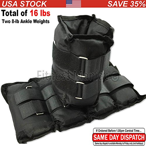 New Ankle Weight Adjustable Strap Wrist Weights 16 Lbs (2 X 8 Lbs) Black Ankle Weights US Seller (Shipping from USA)