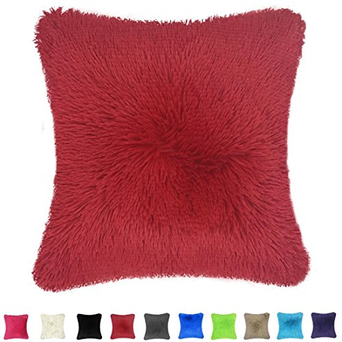 Throw it-Your Super Silky Soft Cozy Faux Fur Square Shaggy Throw Pillow Case Cover 18