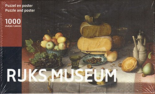 Puzzleman 1000 Piece Puzzle with Poster - Rejks Museum: Still Life With Cheese By Floris Claesz van Dijck