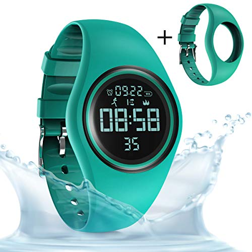 (synwee Sports Fitness Tracker Watch, IP68 Waterproof, Non-Bluetooth, with Pedometer/Vibration Alarm Clock/Timer, for Kid Children Teen Boys Girls (Dark Green))