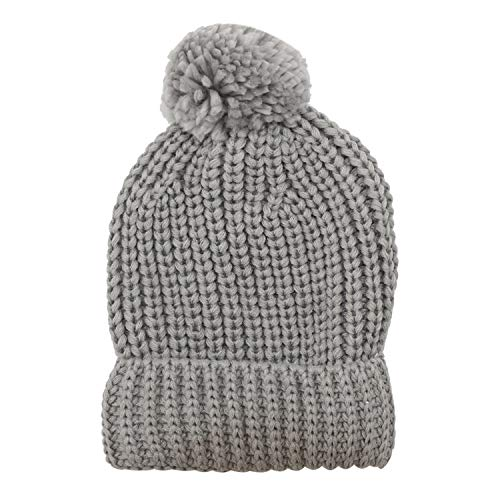 Jiuhong Kids Toddler Pompom Beanie Hat Baby Cable Knit Winter Hats Candy-Colored Caps for Girls and Boys (Grey)