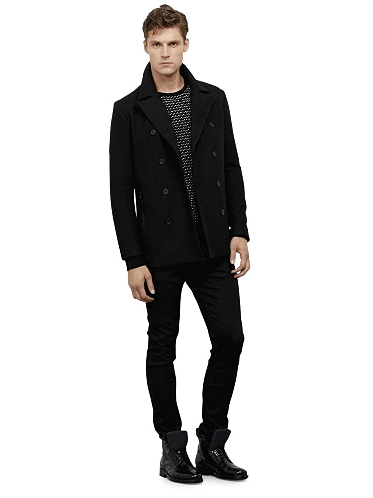 Kenneth Cole REACTION Mens Peacoat with Pleather Trim