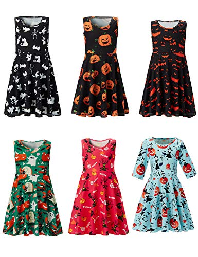 UNIFACO Big Girls Ghost Halloween Dress Holiday Party Sleeveless Bat Printed Dress 10-13 T by UNIFACO (Image #5)